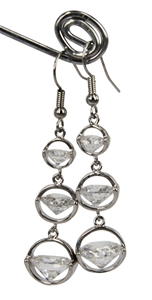 EARRINGS - CLEAR CUBIC ZIRCONIA, SILVER