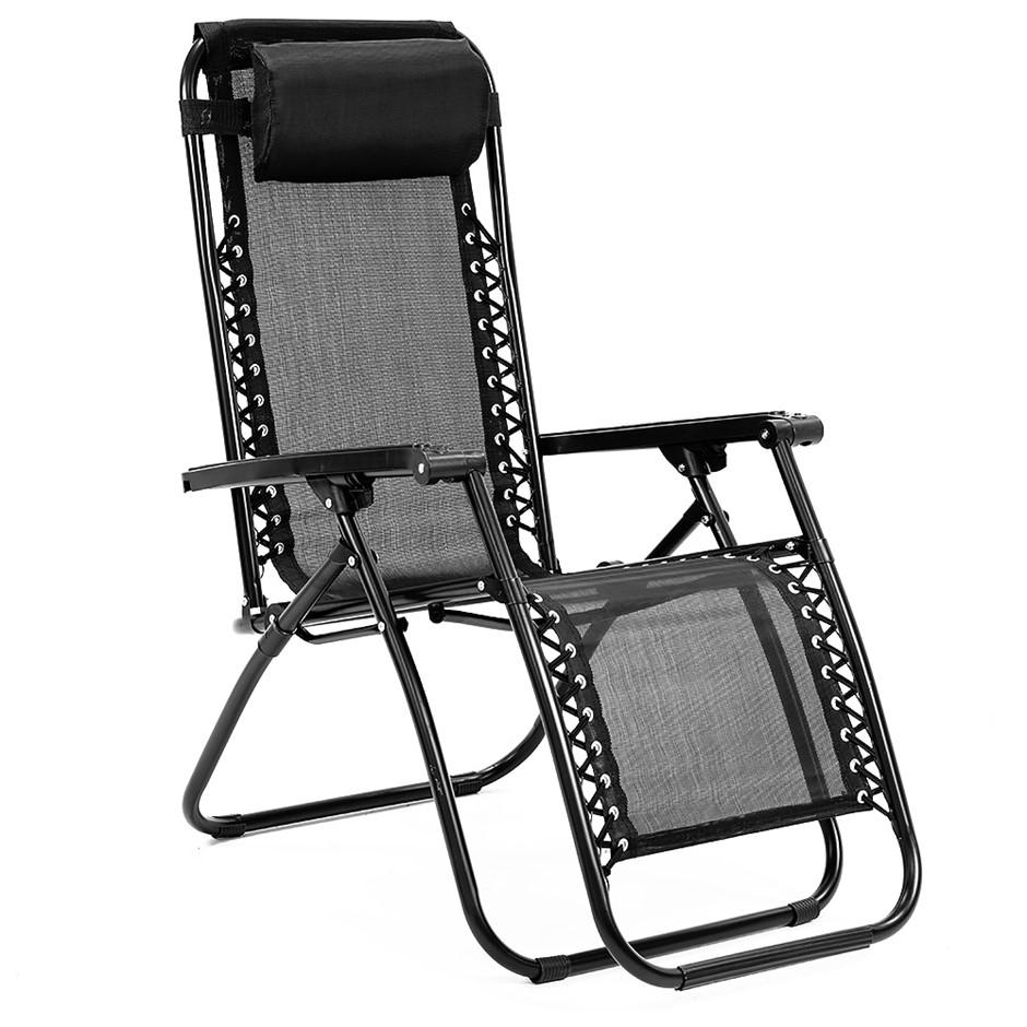 Zero Gravity Reclining Deck Camping Chair - Black