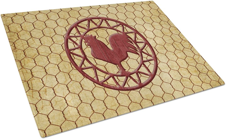 CAROLINE`S TREASURES Rooster Chicken Coop Glass Cutting Board, Size: Large.