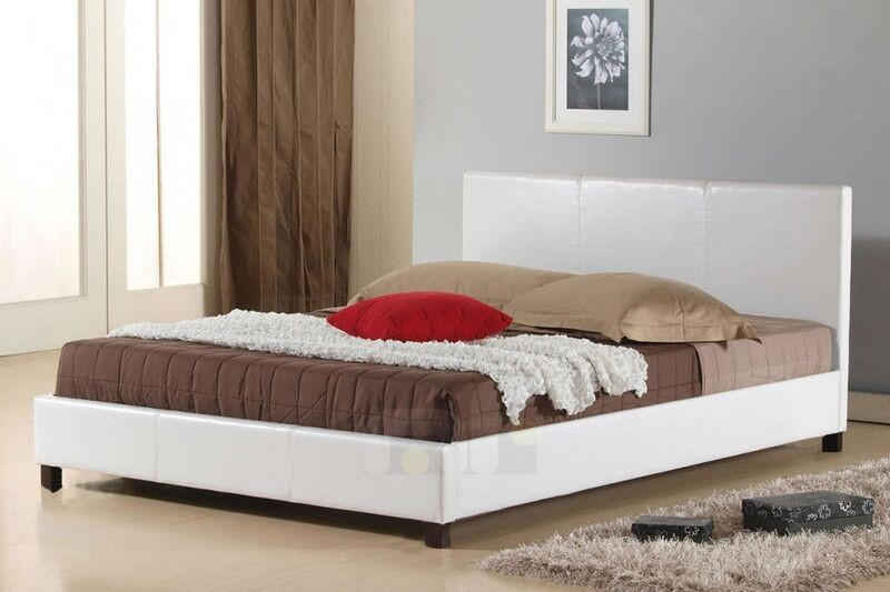 Queen Size Leatheratte Bed Frame in White Colour with Metal Joint Slat Base