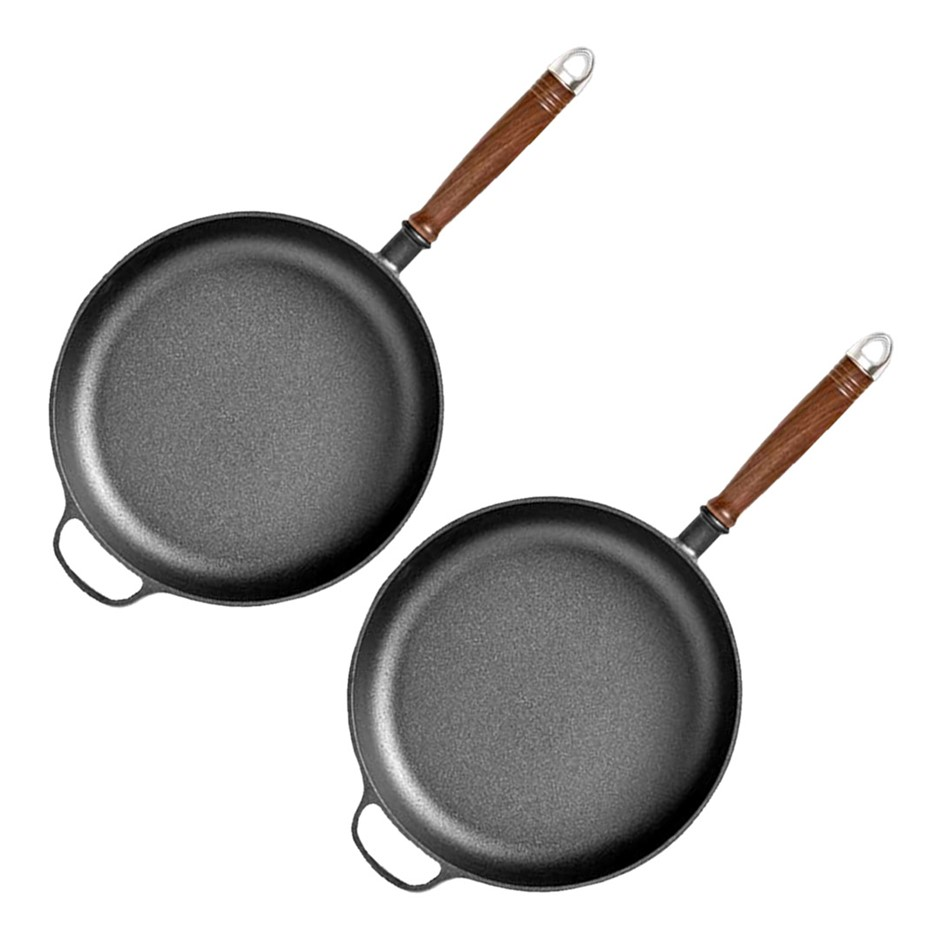 SOGA 2X 29cm Round Cast Iron Frying Pan with Helper Handle