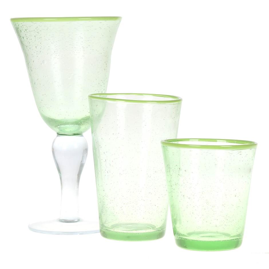 12pc Green Rim & Bubble Glass Set, Comprising; 4 x Large Goblets & 2 Size D