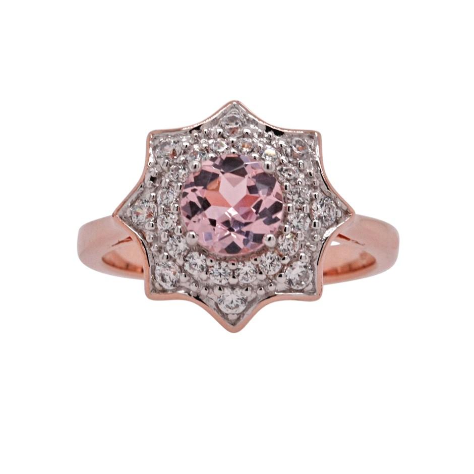 Ladies Rose Gold Vermeil Morganite (CR) & White CZ Ring.