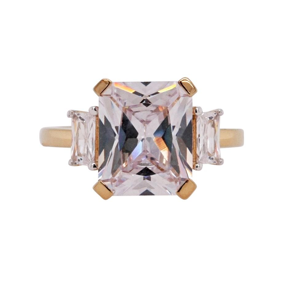 Ladies Yellow Gold Vermeil White CZ Deco Style Ring.