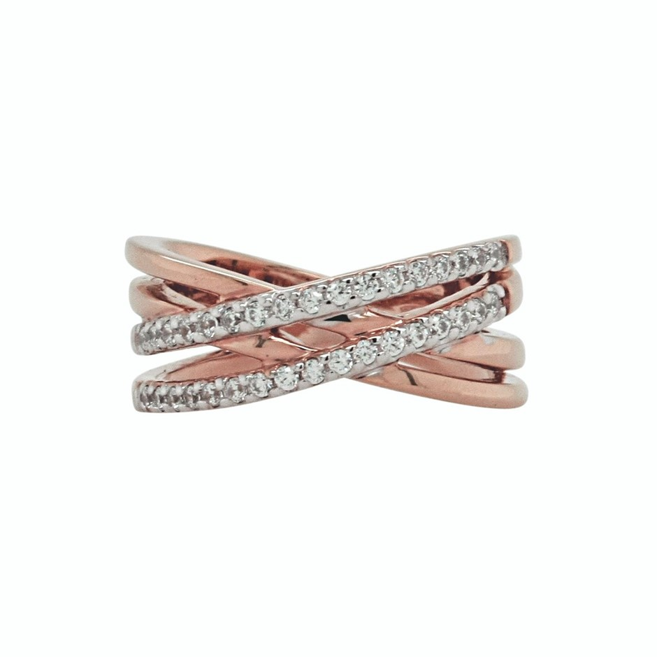 Ladies Pink Gold Vermeil White CZ Crossover Ring.