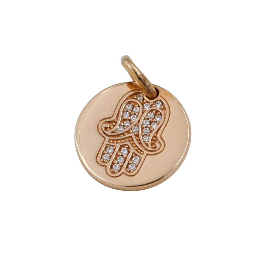 Thomas Sabo Engraved Rose Gold Plated Fatima Coin Pendant.