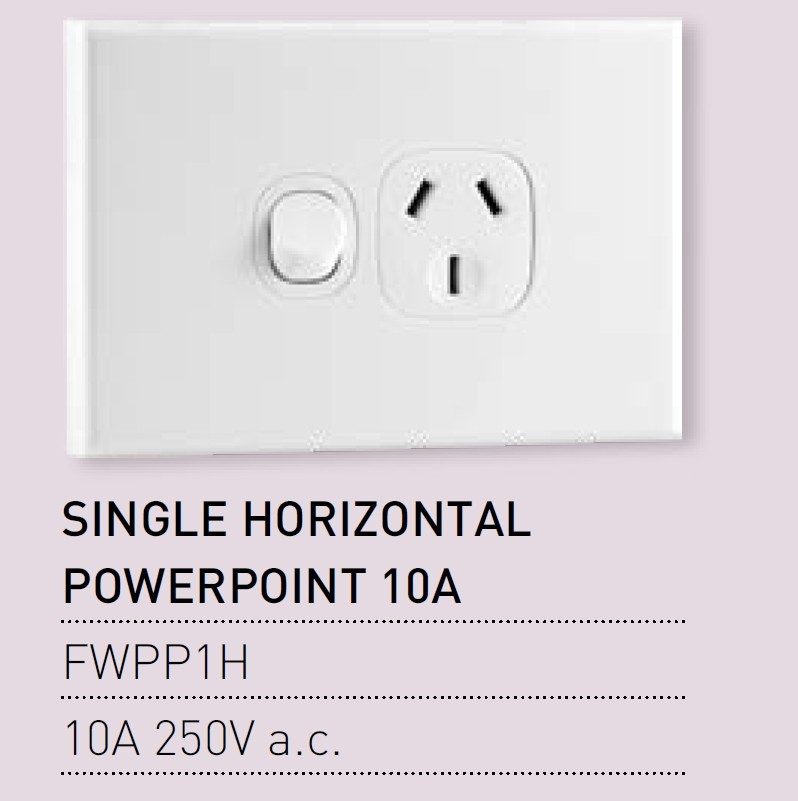 Qty 10 x Vynco Single Horizontal PowerPoint Wall Switch Single Outlet 10A