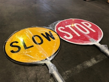 Stop / Slow Double Sided Lollipop Signs