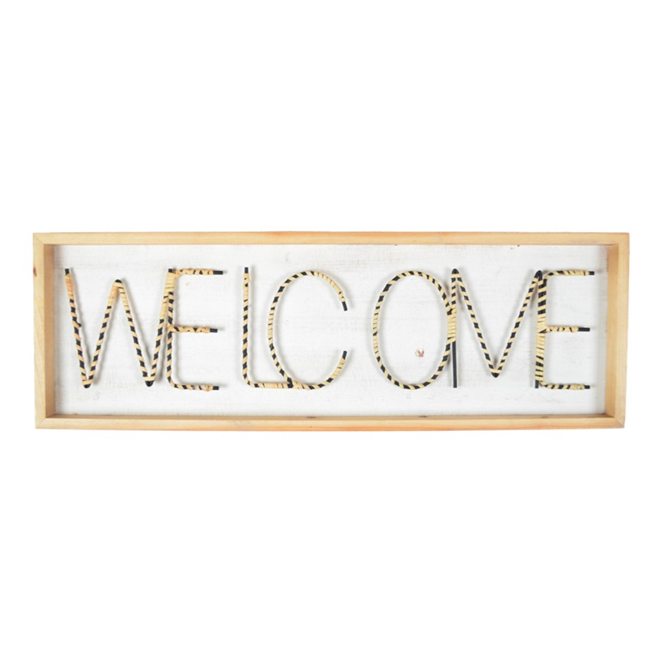 XL Welcome 90cm w/ Natural Weave & Exposed Metal Wall Art