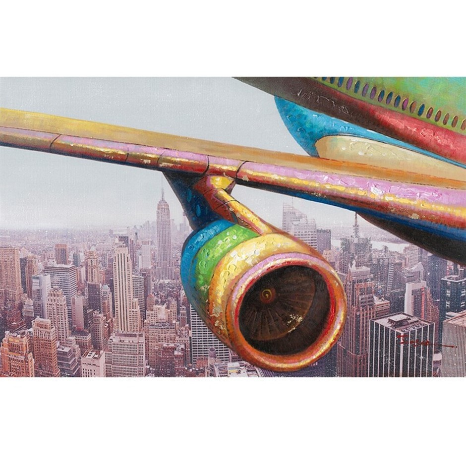 Aeroplane Over City 90x60cm Oil Painting on Canvas