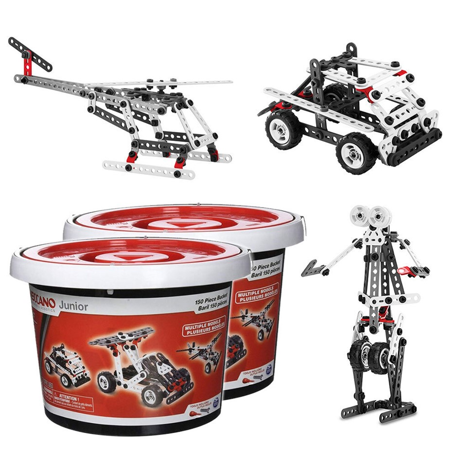 2x 150pc Meccano Junior Multiple Models Bucket