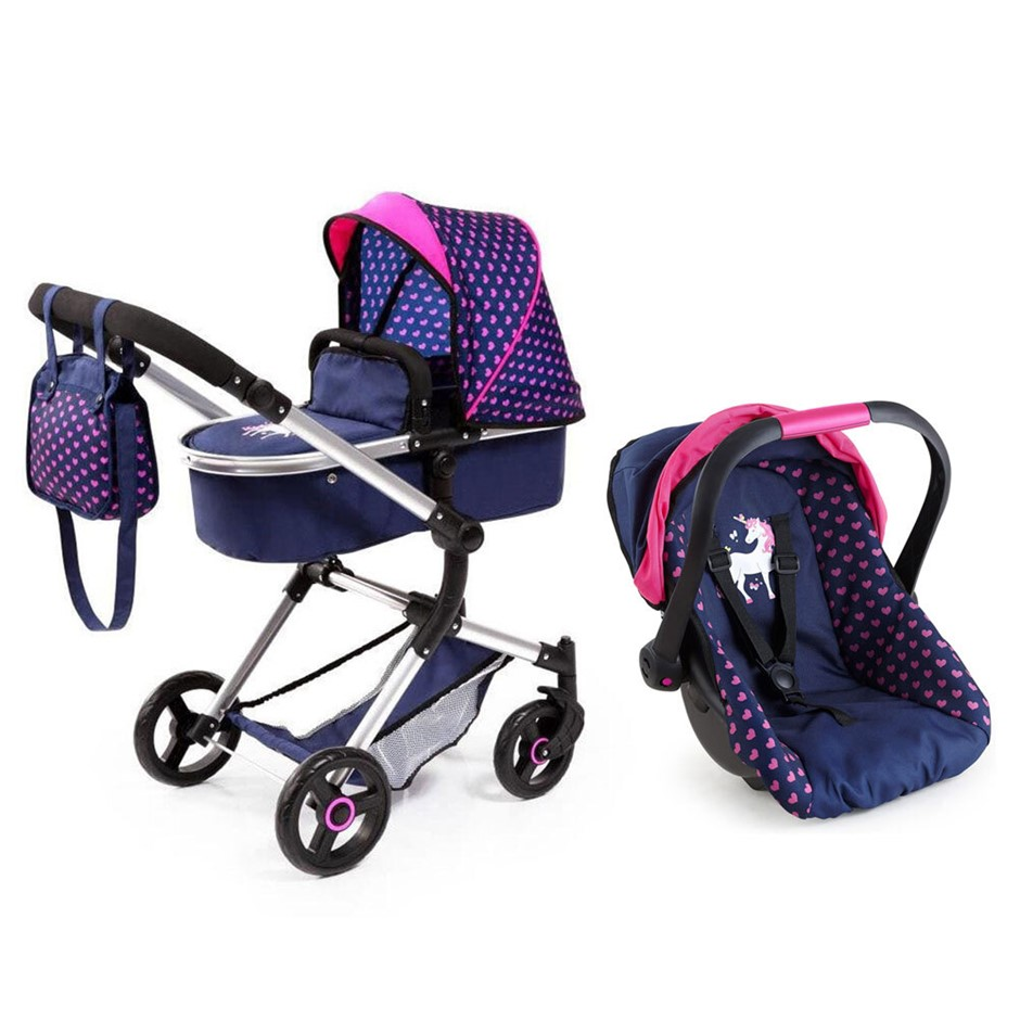 2pc BayerCity Vario Doll Pram/Car Capsule - Dark Blue/Pink Hearts & Unicorn