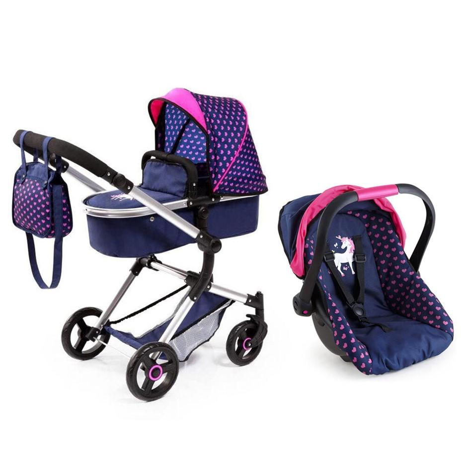 2pc BayerCity Vario Doll Pram/Car Capsule - Dark Blue/Pink Hearts & Unicorn