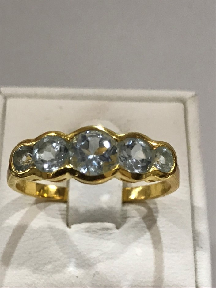 Classical 5 Stone Blue Topaz & 18K Y/Gold Vermeil Ring Size R (8.75)