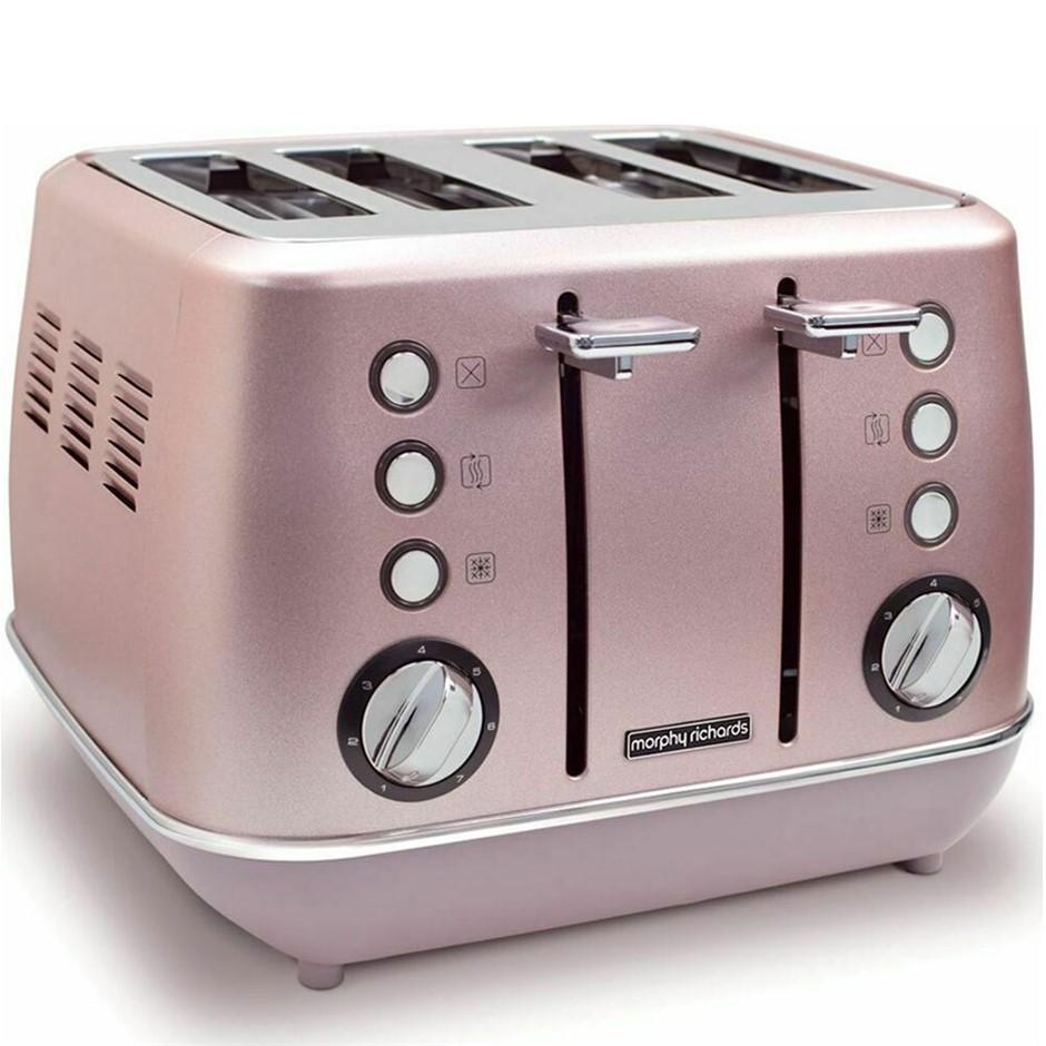 Morphy Richards Evoke 4 Slice Toaster - Rose Quartz
