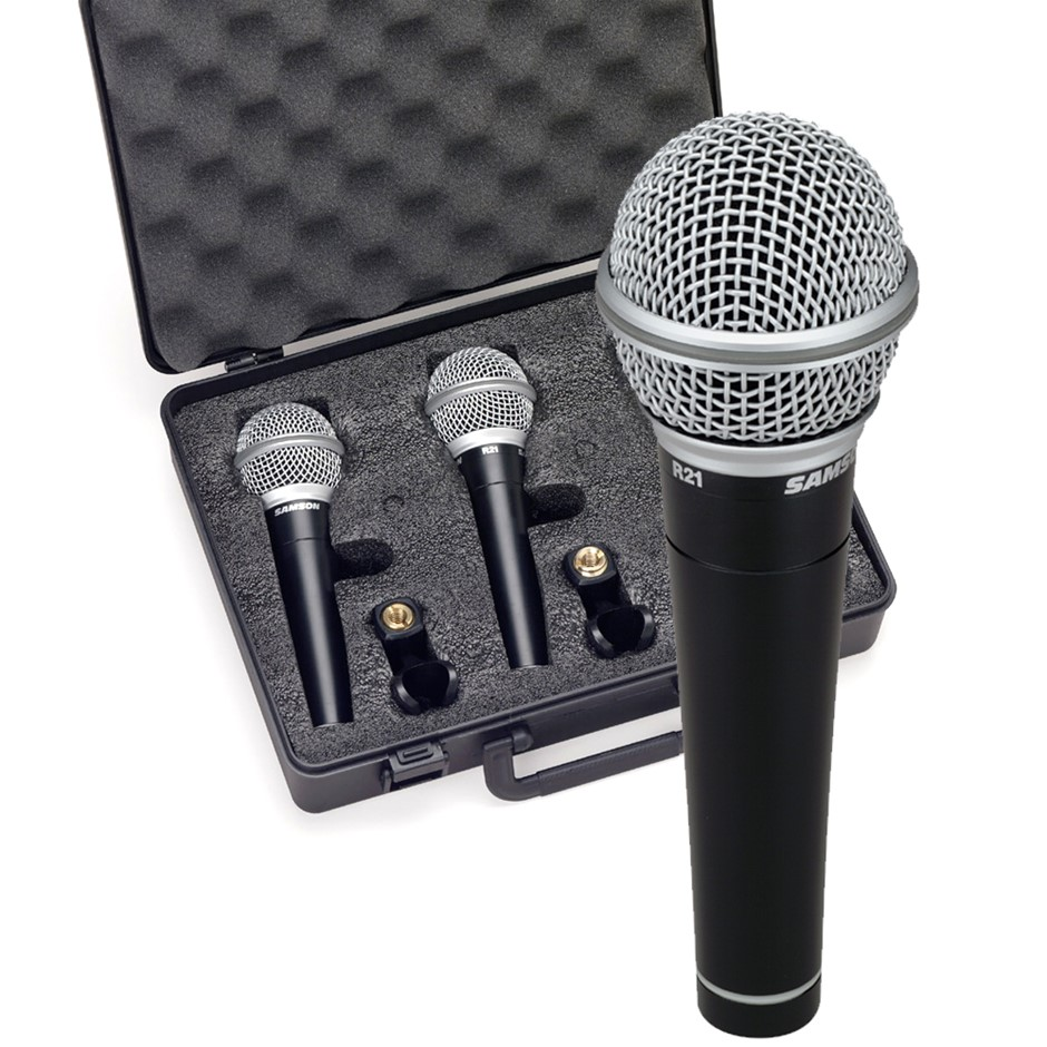 Samson R21S 3Pack Dynamic Microphone Set/Mic Clip/Case For Vocal/Gig/Studio