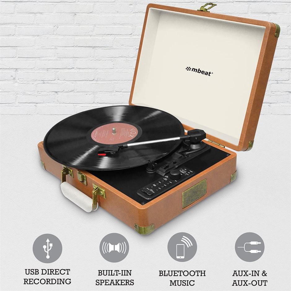 mbeat Aria Retro USB Turntable with Bluetooth and USB Direct Recording