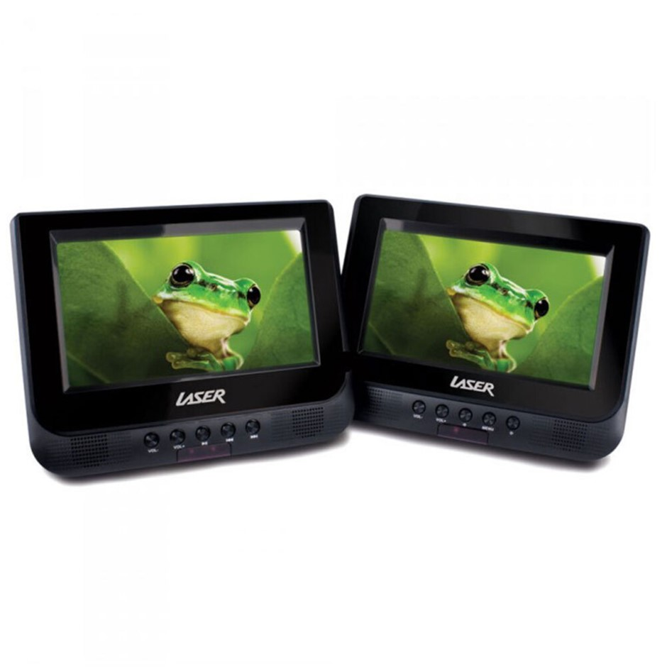 "Laser Portable Dvd Player Dual 7"" Screen In Car W/ Headrest Holder"