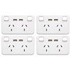 4PK - Wall plate Dual Powerpoint 2.1Amp w/2 USB Port Charger