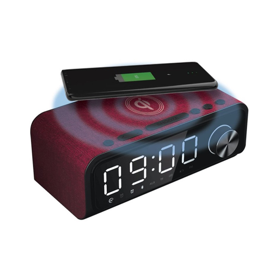 4-in-1 Digital Alarm Clock Radio w/Qi Wireless Charging & Bluetooth Speaker
