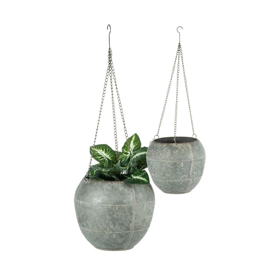 2pc Nested Hanging 86cm/67cm Planter w/ Chains