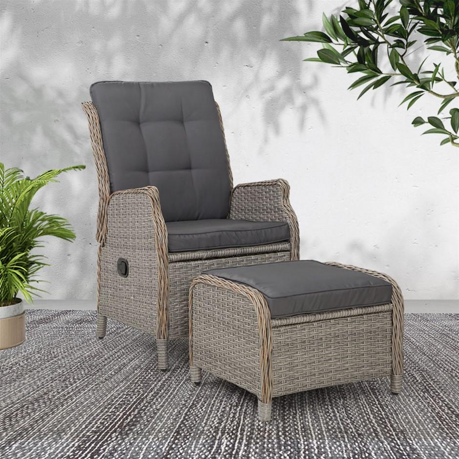 Gardeon Recliner Chair lounge Outdoor Setting Patio Furniture Wicker Sofa