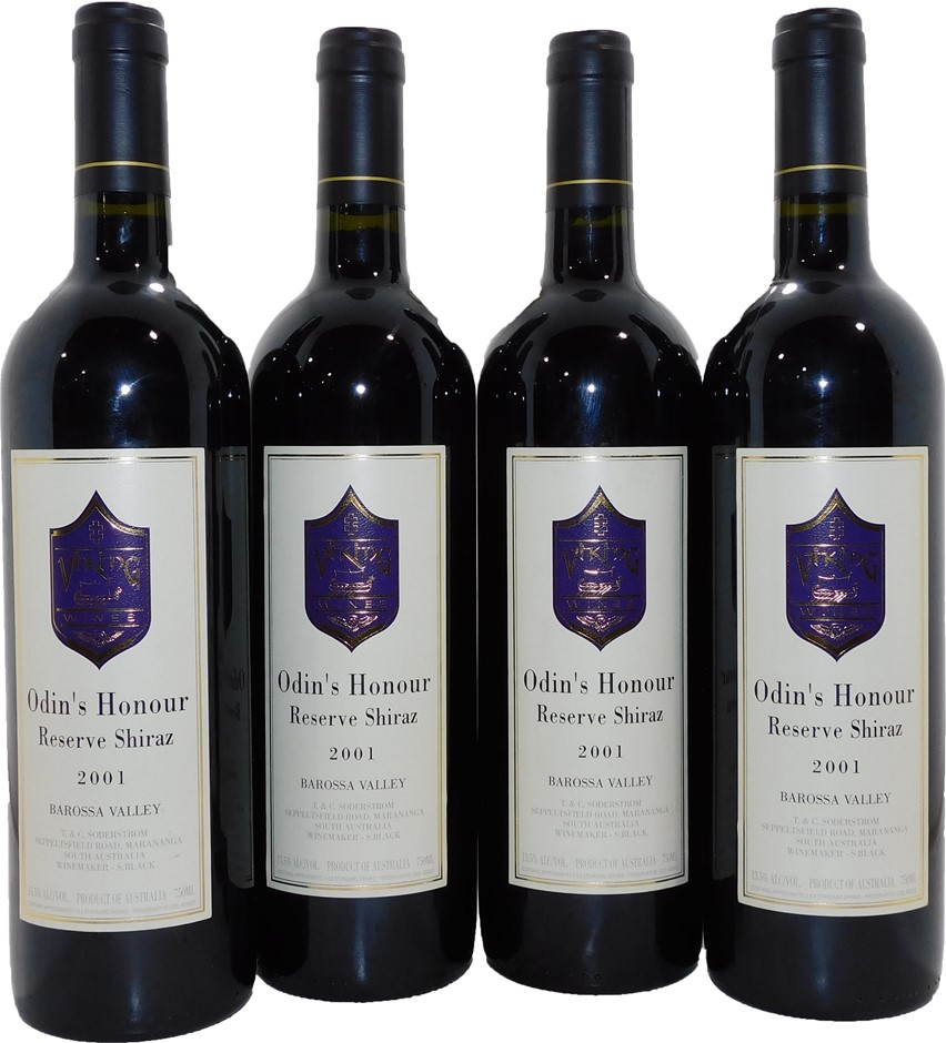 Viking Wines Odins Honour Reserve Shiraz 2001 (4x 750mL), Barossa, SA
