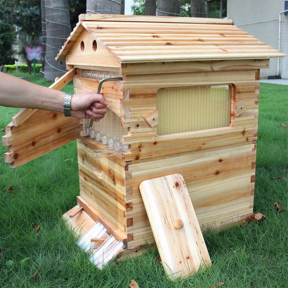 Wooden Beekeeping Beehive House + 7PCS Upgraded Auto Flow Bee Comb Hive