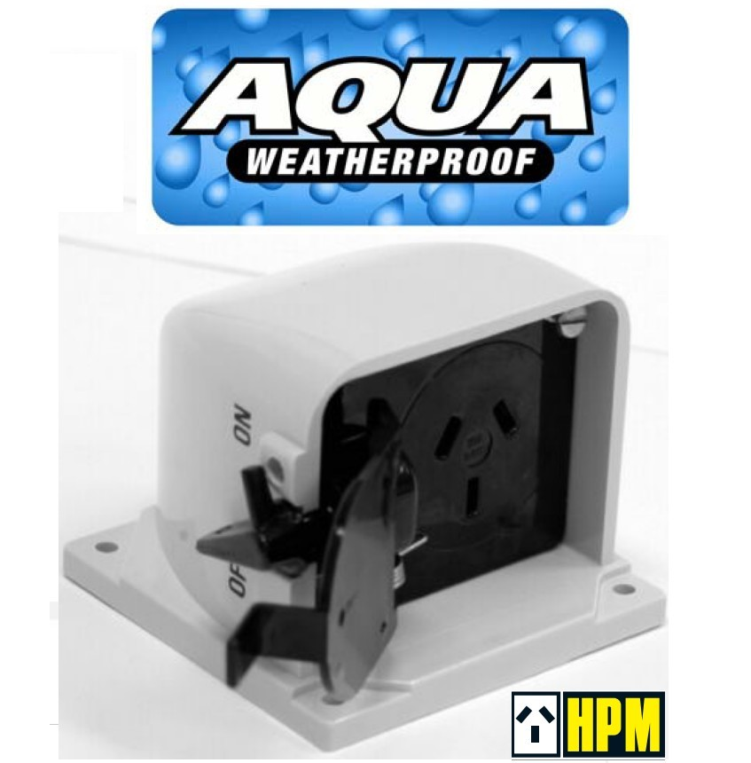 HPM Aqua Series Weatherproof IP53 Single Powerpoint Outlet 15A