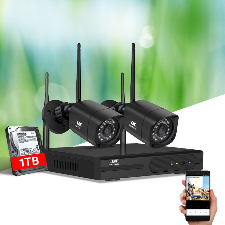 UL-tech CCTV Wireless Security Camera System 4CH Home Outdoor WIFI 2 Square