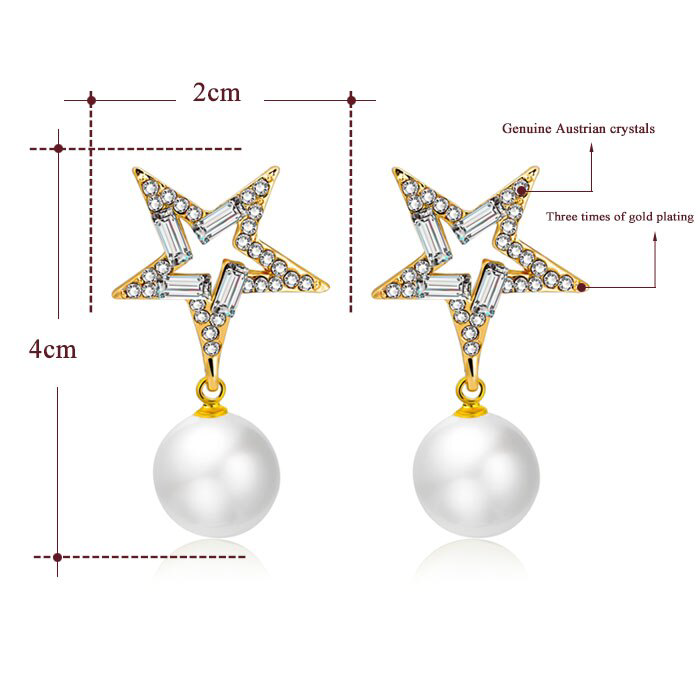 18k Gold Filled Star Crystal Simulated Pearl Long Earrings