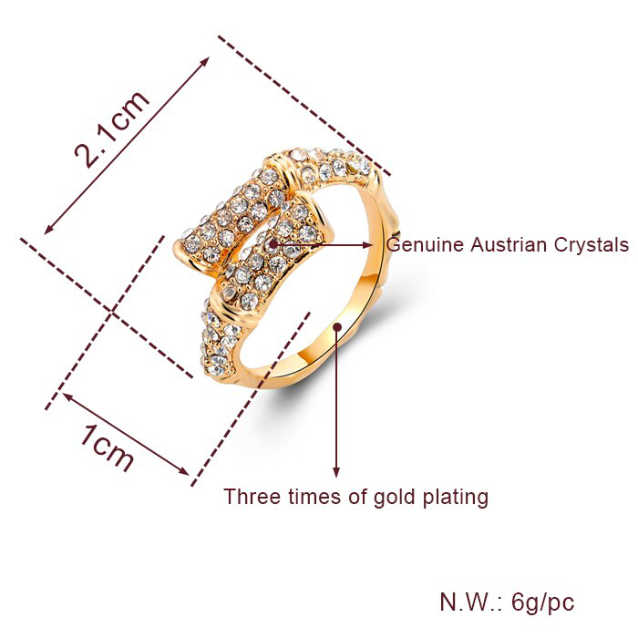 Elegant Lovely 18k Gold Filled Rhinestone Rings For Women size 9