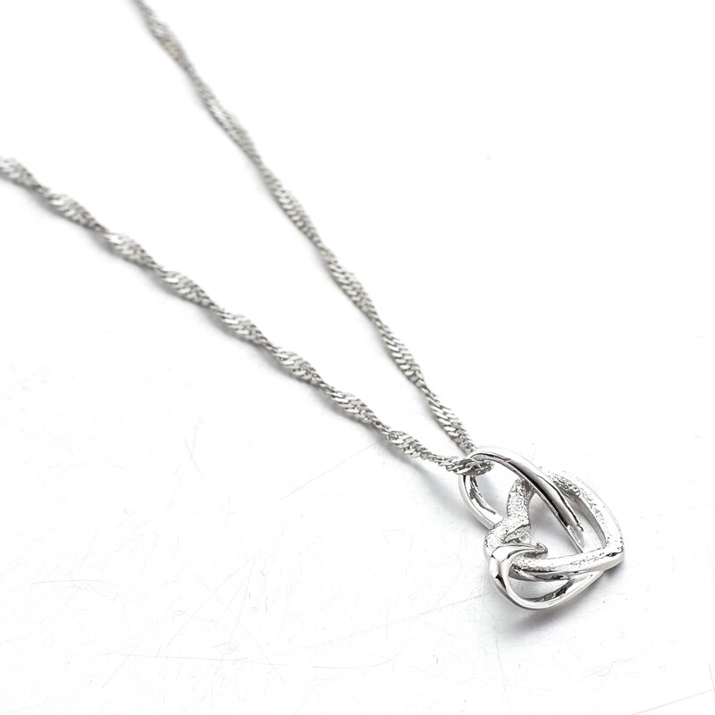 Elegant 18k white Gold-filled Crystal Double Heart Necklace&Pendants