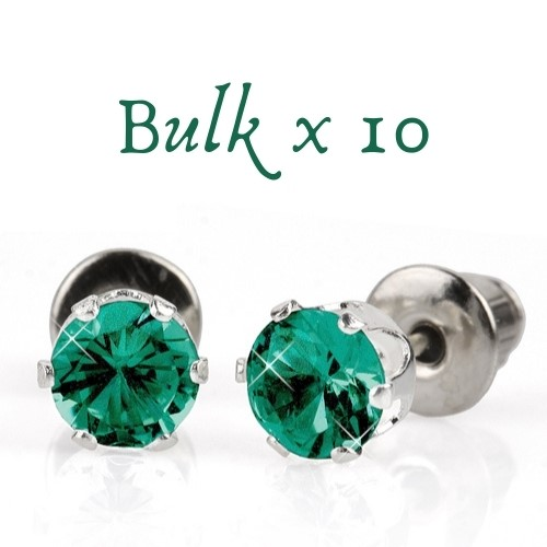 BULK PACK - 10 x 5mm Birthstone Earrings (May) - Great, Christmas Gift Idea