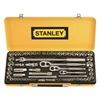 STANLEY 64 Piece 1/4`` 3/8`` 1/2 ` Drive Socket Set, Chrome Vanadium Steel.