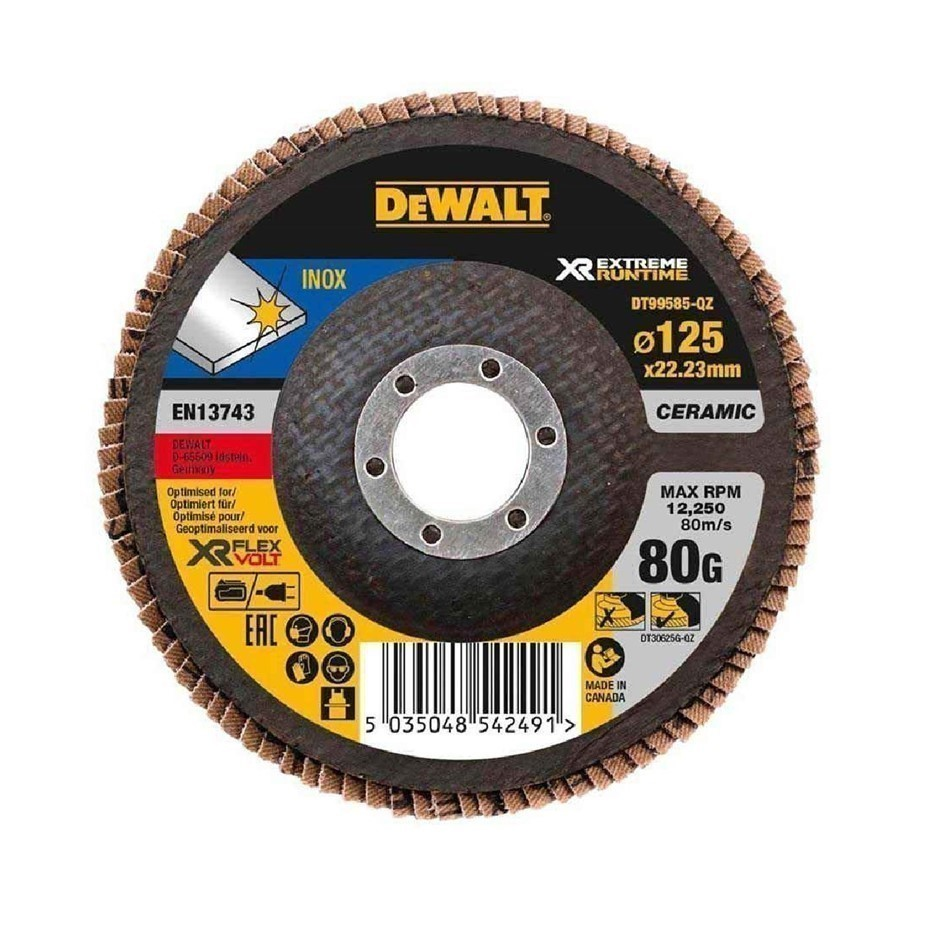 5 x DeWALT Ceramic Flap Discs 125 x 80 Grit. Buyers Note - Discount Freight