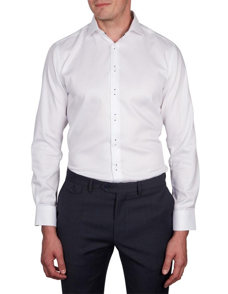 ABELARD Stitch Detail Twill Shirt. Size 46, Colour: White. 100% Cotton. Buy