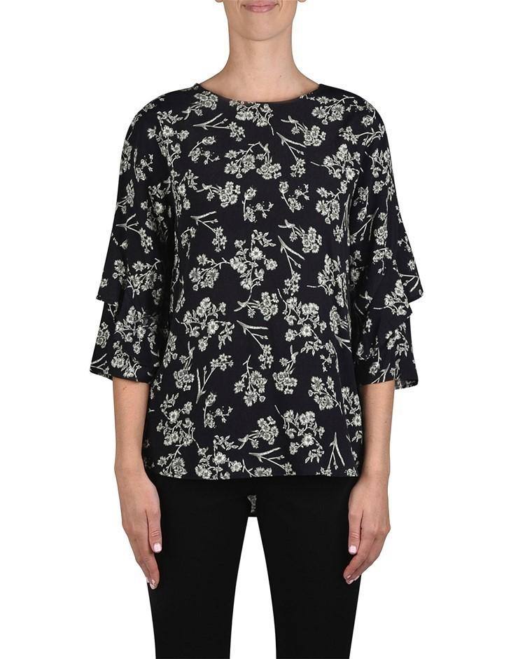 JUMP Antique Floral Ruffle Top. Size 12, Colour: Black. 100% Viscose Crepe.