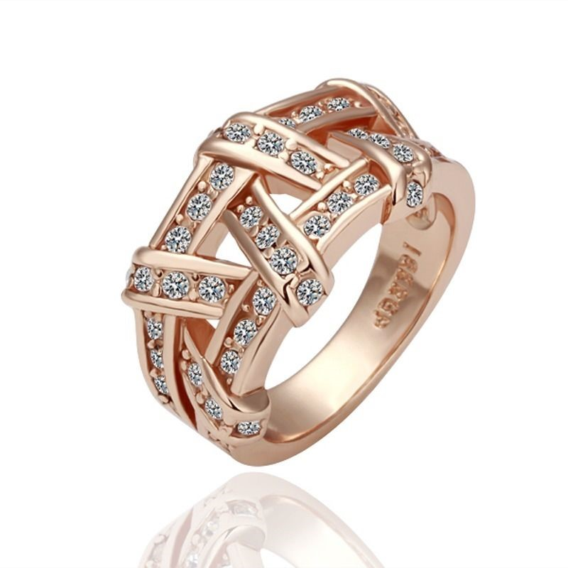 18K Rose Gold filled Solid Wedding Engagement Ring SWAROVSKI Crystal