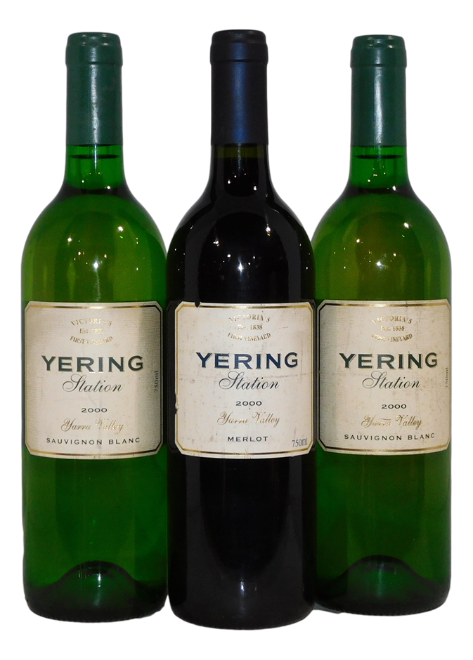 Mixed Yering Station Wine 2000 (3x 750mL), Yarra Valley, VIC. Cork