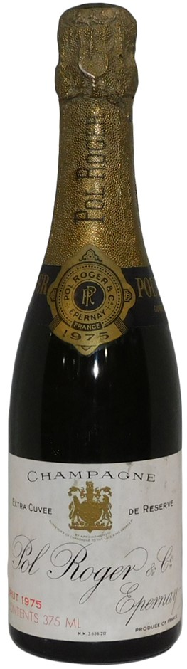 Pol Roger Extra Cuvee de Reserve Champagne 1975 (1x 375mL), France. Cork