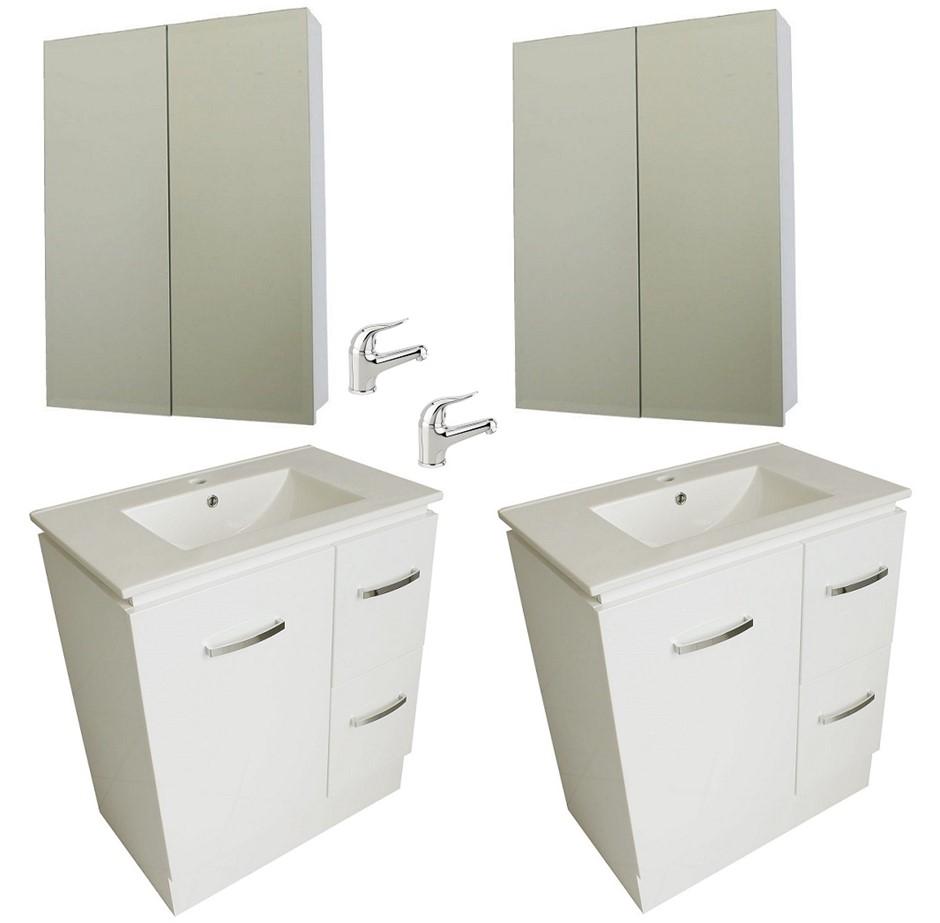 (2 Pack) Premium 750mm Bathroom Vanity Package with Mirror & Basin Mixer