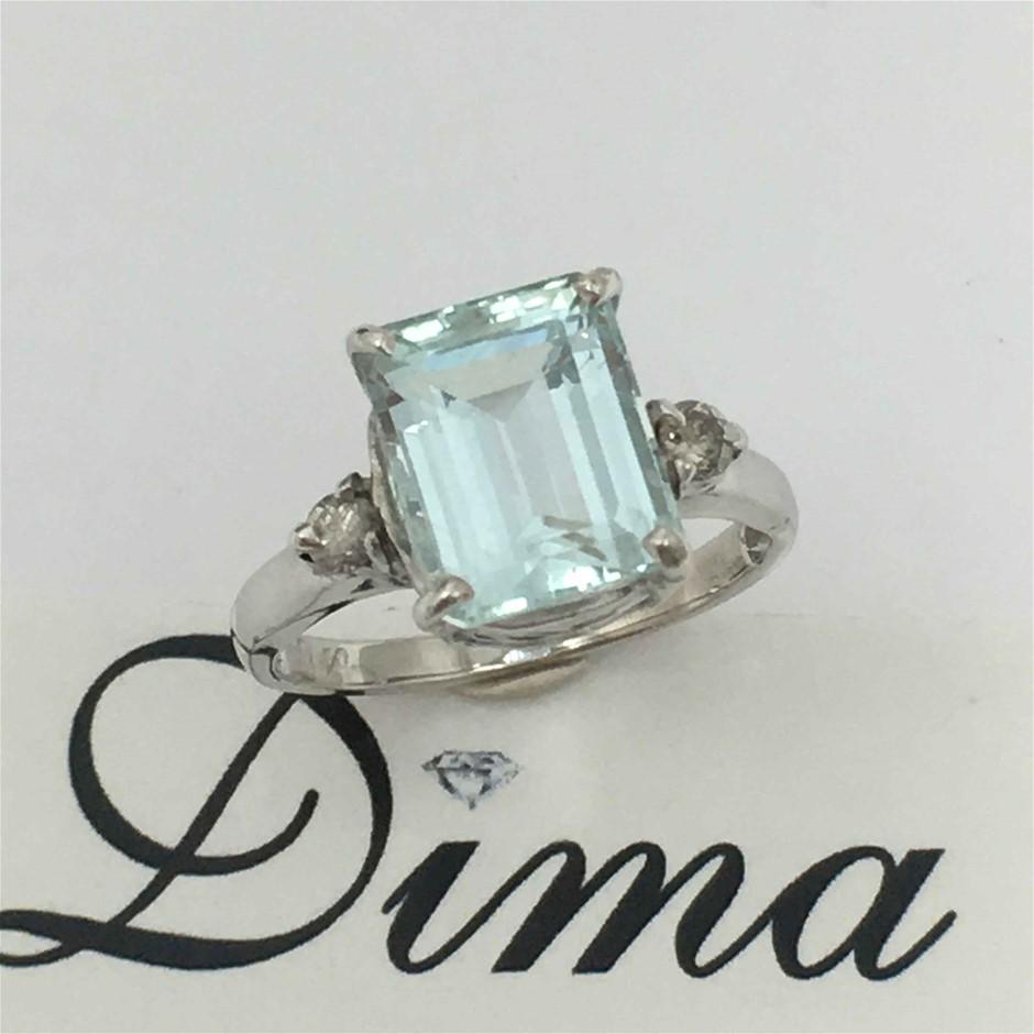 9ct White Gold, 4.03ct Aquamarine and Diamond Ring