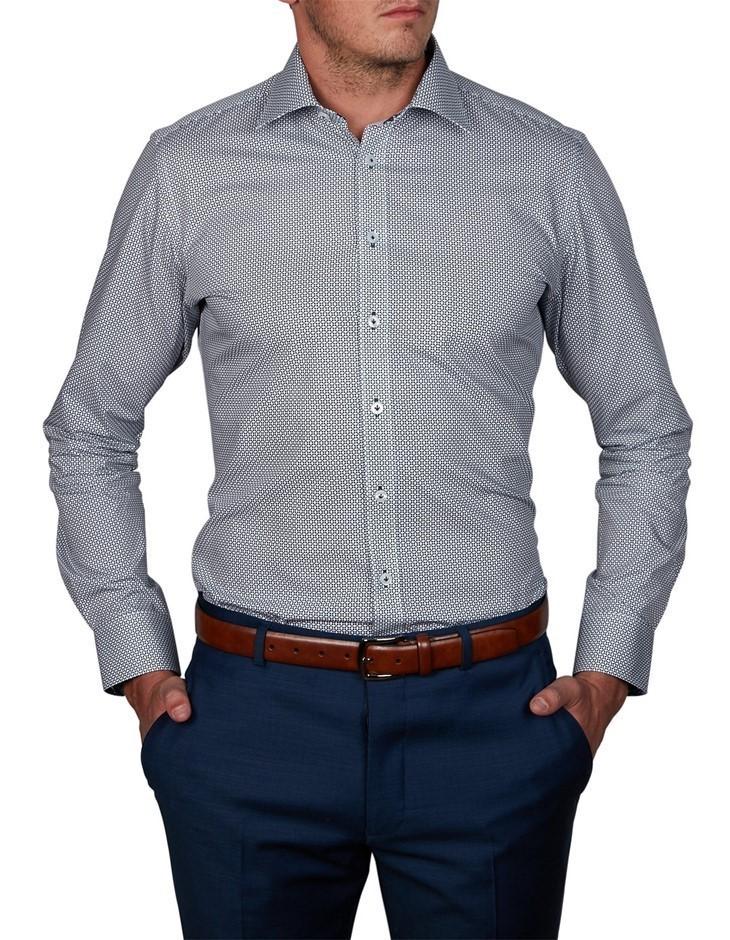 ABELARD Longega Print Shirt. Size 40, Colour: Navy. 100% Cotton. ROP $99.95