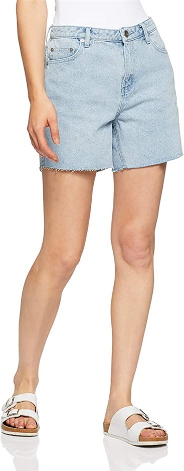 SILENT THEORY Women`s Crushed Shorts, Color Light Blue, Size 8. Buyers Note
