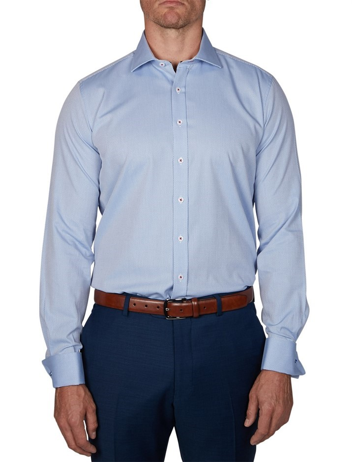 GEOFFREY BEENE Damon Dobby Shirt. Size 43, Colour: Sky. 100% Cotton. Buyers
