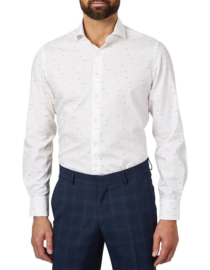 SIMON CARTER Swimers Print Shirt. Size 16, Colour: White. 100% Cotton. Buye