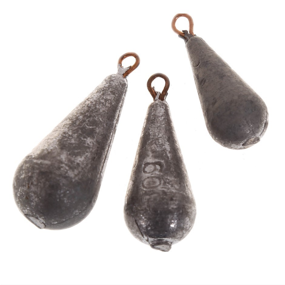 20pc Tear Drop Shaped Fishing Sinkers, Sizes 20, 30, 40, 50, 60 grams. Buye