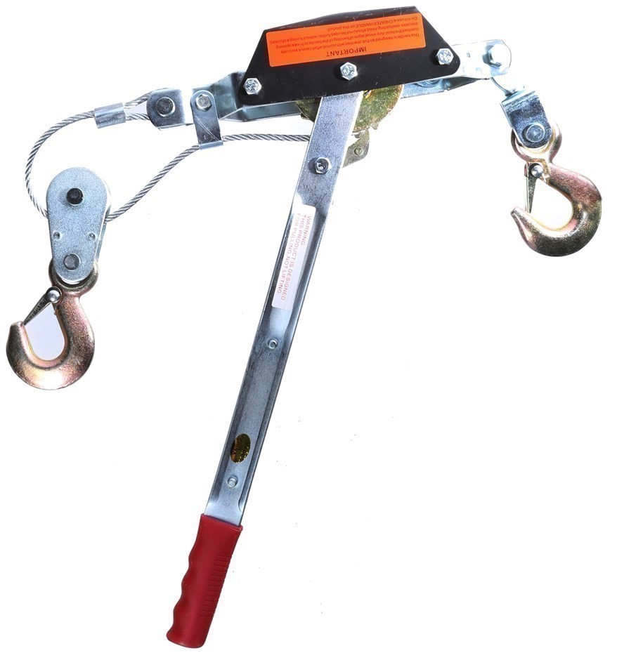 2 Tonne Hand Winch Puller, Single Gear, 2 Safety Hooks, 4.5mm Dia Cable. (S