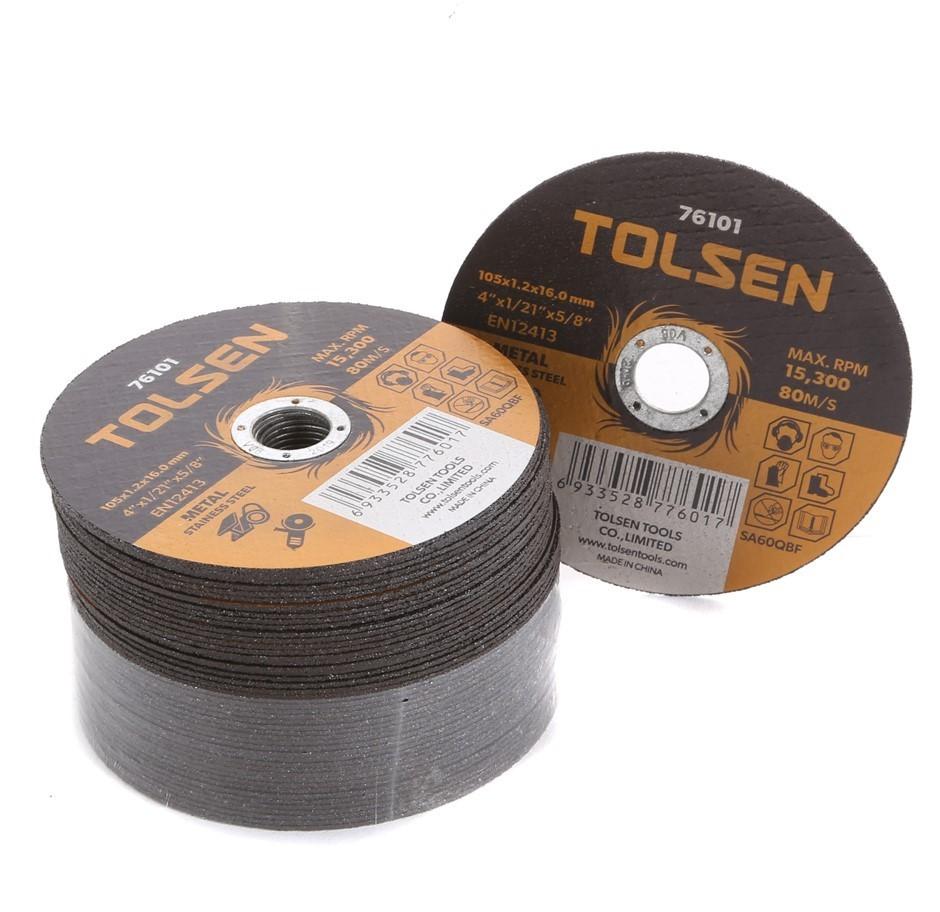 50 x TOLSEN Type 41 Flat Cut-Off Wheels, 105x1.2x16mm, Max RPM 15 300. (SN: